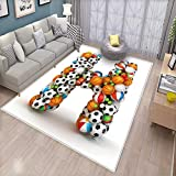 Letter H Door Mats for Inside Letter H Stacked from Gaming Balls Alphabet of Sports Theme Competition Activity Bath Mat for tub Bathroom Mat Multicolor