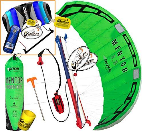 Prism Mentor 3.5 Water Relaunch Kitesurfing Trainer Kite Bundle : (5 Items) Includes 2ND Control Bar Kite : CX 1.5M Foil Control Bar Kite + WindBone Kiteboarding Lifestyle Decals +Key Chain +Koozy -