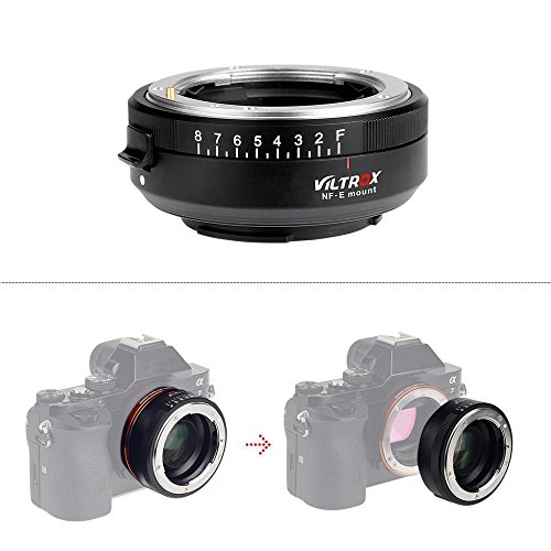 VILTROX NF-E Manual-Focus F Mount Lens Adapter Compatible with Sony E Mount Camera,Sony A7ii A7s A7r a6300