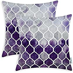 CaliTime Pack of 2 Cozy Throw Pillow Cases Covers Couch Bed Sofa Manual Hand Painted Colorful Geometric Trellis Chain Print 22 X 22 Inches Main Grey Purple Eggplant