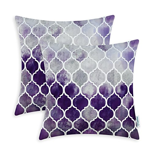 Pack of 2 CaliTime Cozy Throw Pillow Cases Covers for Couch Bed Sofa, Manual Hand Painted Colorful Geometric Trellis Chain Print, 22 X 22 Inches, Main Grey Purple - With Purple Grey