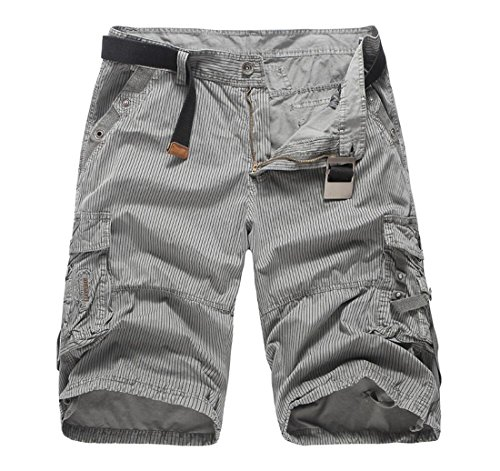 Men's Stripe Multi-pocket Cargo Shorts Gray 38