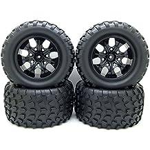 12mm Hub Wheel Rim & Tires 1/10 Off-Road RC Car Buggy Tyre w/ Foam Inserts Black Pack of 4
