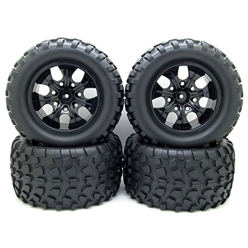 Tires 1/10 Off-Road RC Car Buggy Tyre w/ Foam Inserts Black Pack of 4 (Rc Wheels Tires)
