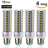 led 15w corn - HUIERLAI 4-Pack 15W Super Bright LED Corn Light Bulb for Residential and Commercial Projec E26/E27 ( 120W Incandescent Bulb ) 1360Lm AC85-265V White(6000K) Non-Dimmable.