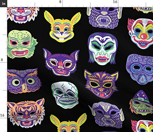 Scary Masks Fabric - Clown Vampire Cat Witch Owl Halloween Vintage Retro Masks Creepy Costume Monster by Pinkowlet Printed on Satin Fabric by The Yard ()
