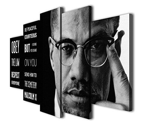 HQ Art Malcolm X Right Thing Painting Printed Canvas Wall Art Picture for Home Décor, Contemporary Artwork, Split Canvases , (12x16inchx2pcs, 12x24inchx2pcs, 12x32inchx1pc, With Framed)