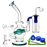 R-TEAM Glass 14.5mm Height 24cm Green Water Hand Made Recycler Joint