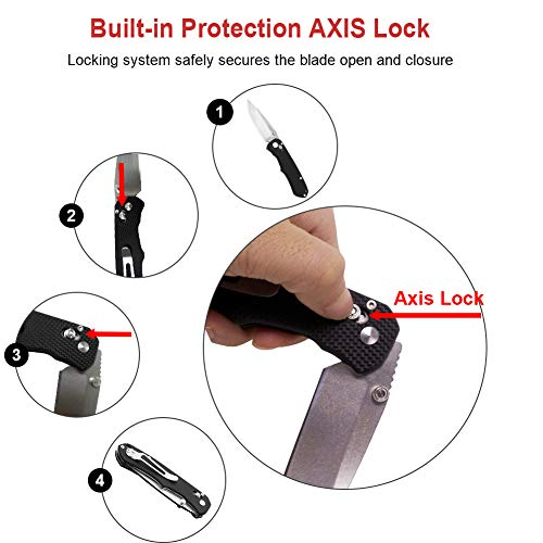 Pocket knife with Clip Big Folding Knife 8Cr13MoV Stainless Steel Blade G10 Handl and AXIS Lock Designe for Outdoor Camping