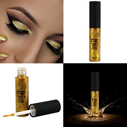 DZT1968 1PC Waterproof long-lasting Metallic Smoky Eyes Eyeshadow Waterproof Glitter Liquid Eyeliner & Eyeshadow Pen (Gold)