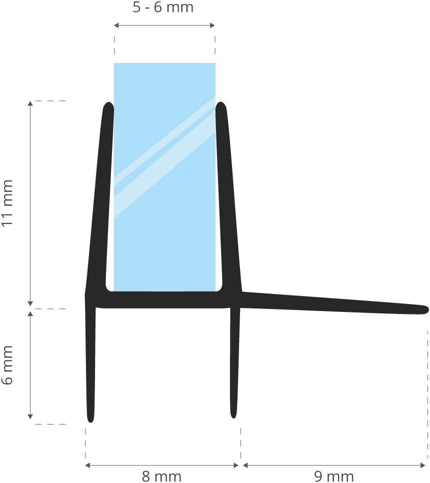 STEIGNER 30cm Joint d/étanch/éit/é de remplacement pour les vitres d/'une /épaisseur 5mm// 6mm UK16