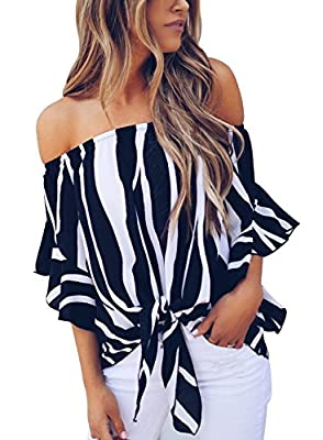 Asvivid Women's Striped Off Shoulder Bell Sleeve Shirt Tie Knot Casual Blouses Tops