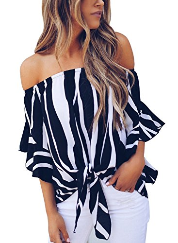 (FARYSAYS Women's Striped 3/4 Bell Sleeve Off The Shoulder Front Tie Knot T Shirt Tops Blouse Black Large)