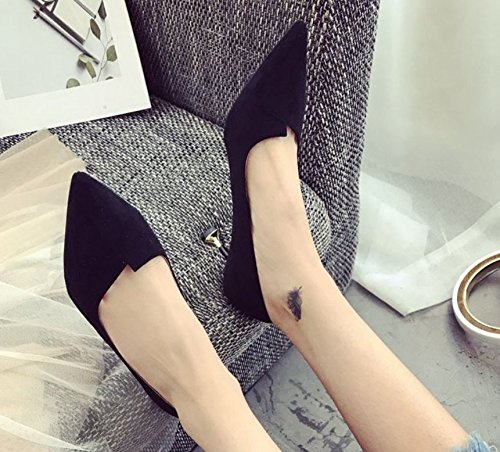 Work Leisure With Fine Elegant High Foot Mouth Spring A 5Cm Set With Match Cat Heels Shoes Suede The 39 Black MDRW Shallow Lady All 6 xwEYtt