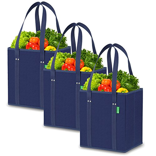 Reusable Grocery Shopping Box Bags (3 Pack - Blue). Handy, Premium Quality, Heavy Duty Tote Set with Extra Long Handles & Reinforced Bottom. Foldable, Collapsible, Durable and Eco Friendly (Shopping Bags That Fold Into A Pouch)