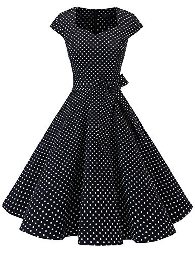 DRESSTELLS Retro 1950s Cocktail Dresses Vintage Swing Dress with Cap-Sleeves Black Small White Dot XS