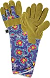 West Chester Miracle-GRO MG23246 Split Cowhide Leather Rose Pruning Work Gloves: Purple/Floral Print, Women's Small/Medium 1 Pair