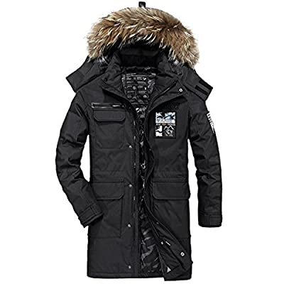 AFS JEEP Men's Down Jacket For Men White Duck Down Parka Men Thick Warm Long Style Hooded Jackets for cheap