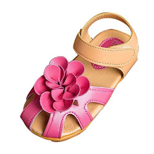 bescita Mädchen Schuhe Kühlen Sommer Sandalen Skidproof Kleinkinder Kinder Kind Blume Schuhe heiß rosa