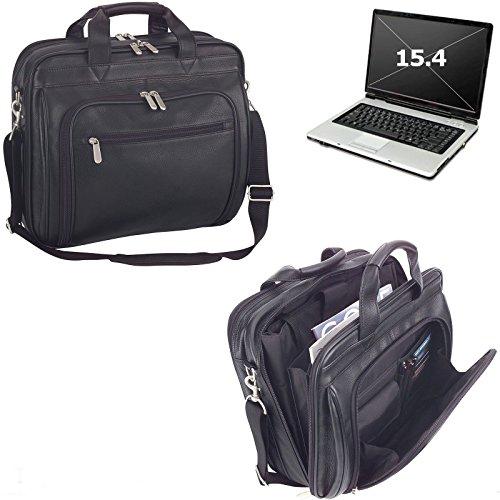 ImpecGear Men's Black Full Grain Leather Briefcase Messenger Shoulder Laptop Portfolio Bag (Black 1) by ImpecGear