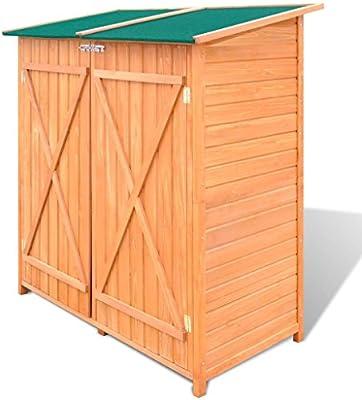 Tidyard Cobertizo de Herramientas con Taburete Alto Cobertizo de Jardín Caseta de Exterior Armario de Madera de Jardín 138x65,5x160cm