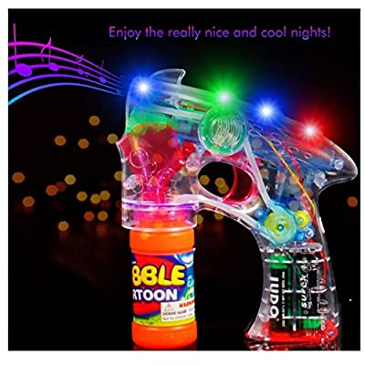 Bubble Blower Machine Light Up Bubble Gun Blaster, - Cool and Fun LED toy Blaster Bubble Gun Blower - Novelty & Gag Toys, Party Favor, Bag Stuffer, Giveaway, Gifts, (1 Light up Bubble Gun Blaster): Toys & Games
