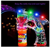 Bubble Blower Machine Light Up Bubble Gun Blaster, - Cool and Fun LED toy Blaster Bubble Gun Blower - Novelty & Gag Toys, Party Favor, Bag Stuffer, Giveaway, Gifts, (1 Light up Bubble Gun Blaster)