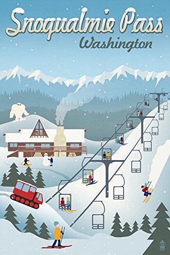 Snoqualmie Pass  Washington   Retro Ski Resort  12X18 Art Print  Wall Decor Travel Poster