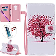 LG G4 Stylus LS 770 Case, ISADENSER Premium Mobile Cover Protect Skin Leather Function Protective Cases Covers With Card Slot Holder Wallet For LG G Stylo LS770, Love Tree