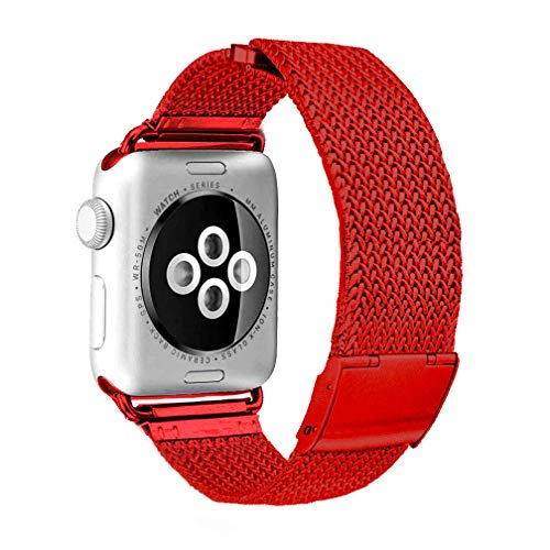 SIXRARI for Watch Band 38mm 40mm,Stainless Steel Mesh Loop with Magnetic Closure Adjustable Bands Strap Wrist Replacement for Iwatch Series 4 3 2 1 Red