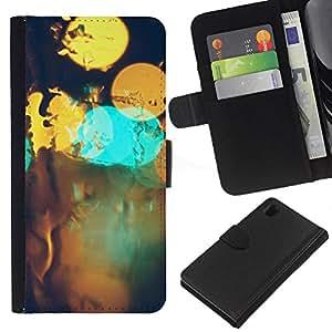 LECELL--Cuero de la tarjeta la carpeta del tirón Smartphone Slots Protección Holder For Sony Xperia Z1 L39 -- Resumen Bokeh --