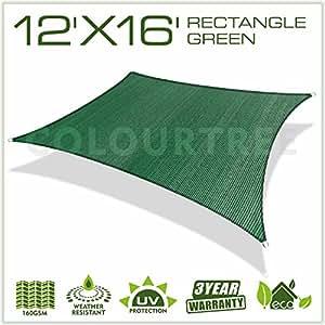 colourtree 12'x 16' toldo dosel rectangular verde–comercial estándar Heavy Duty–160g/m²–4años de garantía