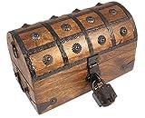Well Pack Box Pirate Treasure Chest Wooden Iron Lock Skeleton Key Small 8 x 6 x 6 Wood Storage Decorative Keepsake Box