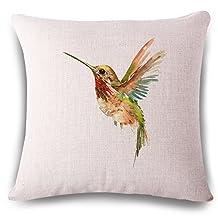 Vintage Cotton and Linen Flower Bird Throw Pillow Case Cushion Cover Home Decor Sofa Decor 45x45cm