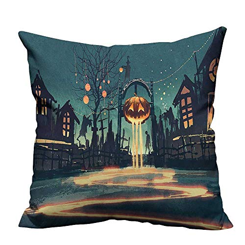 YouXianHome Decorative Throw Pillow Case Halloween Theme Night Pumpkin and House Ghost Town ful Teal Orange Ideal Decoration(Double-Sided Printing) 24x24 inch ()