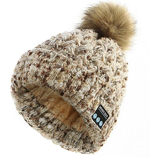 CoCo Fashion Women's Trendy Soft Warm Wireless Bluetooth Music Beanie Pom Pom Hat with Wireless Headphone Headset Speaker Mic Hands Free for Running Skiing Skating Hiking,Christmas Gifts (Beige)