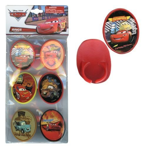 Disney Pixar Cars Cupcake Topper Rings With Graphic Designer Sticker Insert 6pk