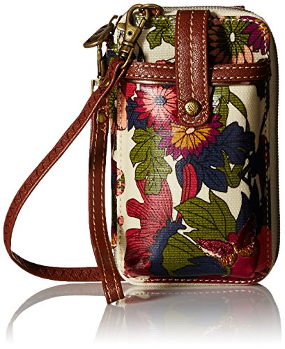 Sakroots Artist Circle Smartphone Wristlet Cross Body, Cream Flower Power