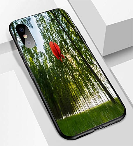 iPhone X/XS Ultra-Thin Glass Back Phone case,Poplar Trees and White Pollen in a Forest in Spring Under Warm Evening Light and Lonely Poppy flowsoft and Easy to Protect The Protective case ()