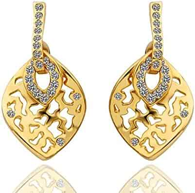 Gnzoe Fashion Jewelry 18K Rose Gold Plated Drop Earrings Fishhook Hollow Round Puzzle Crystal Eco Friendly