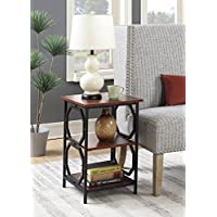 Convenience Concepts Omega Metal End Table, Cherry / Black