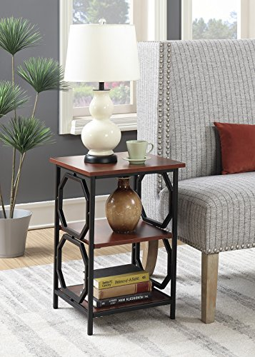 (Convenience Concepts Omega Metal End Table, Cherry / Black)
