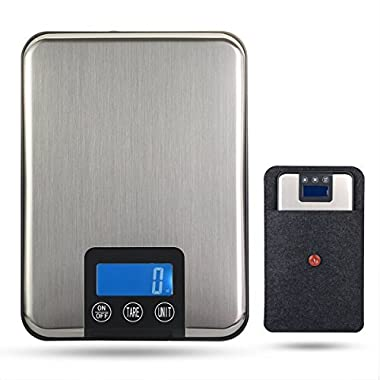 BRDEN 11lb/ 5Kg Digital Multifunction Kitchen Food Scale with LCD Display (Silver)