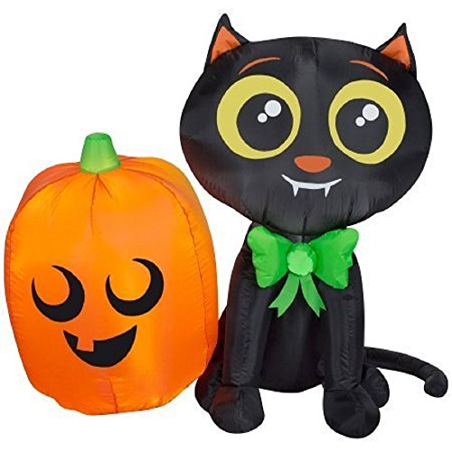 Halloween Airblown Inflatable 3.5 ft. Cat and Pumpkin ()
