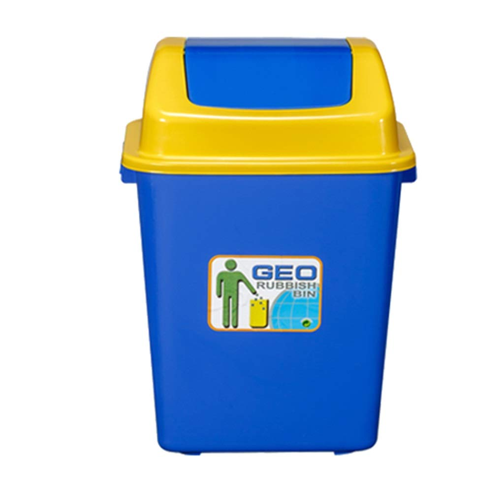 Trash can Trash Can Outdoor with Lid Trash Can Home Kitchen Catering Large Capacity Commercial Hotel (Color : Blue)