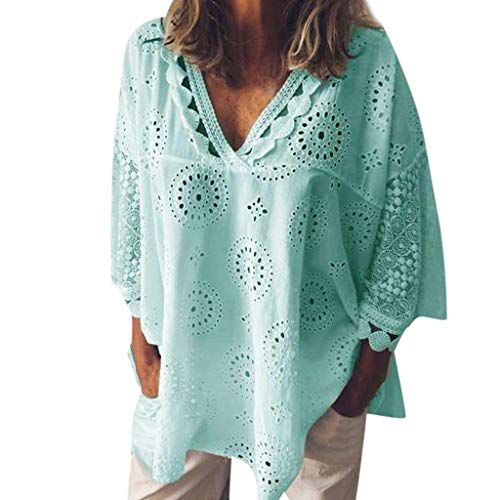 iNoDoZ Lace T-Shirt for Women Loose Half Sleeve Cotton Linen Hollow Out V Neck Patchwork Blouse Tops - T-shirt Couture Rhinestone