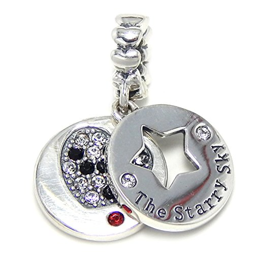 Pro Jewelry 925 Solid Sterling Silver Dangling 'The Starry Sky' w/ Star Cutout and Black and White Crystal Heart Charm Bead