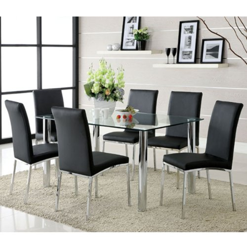247SHOPATHOME IDF-8319T-8336SC-3PK Dining-Room-Sets, Silver