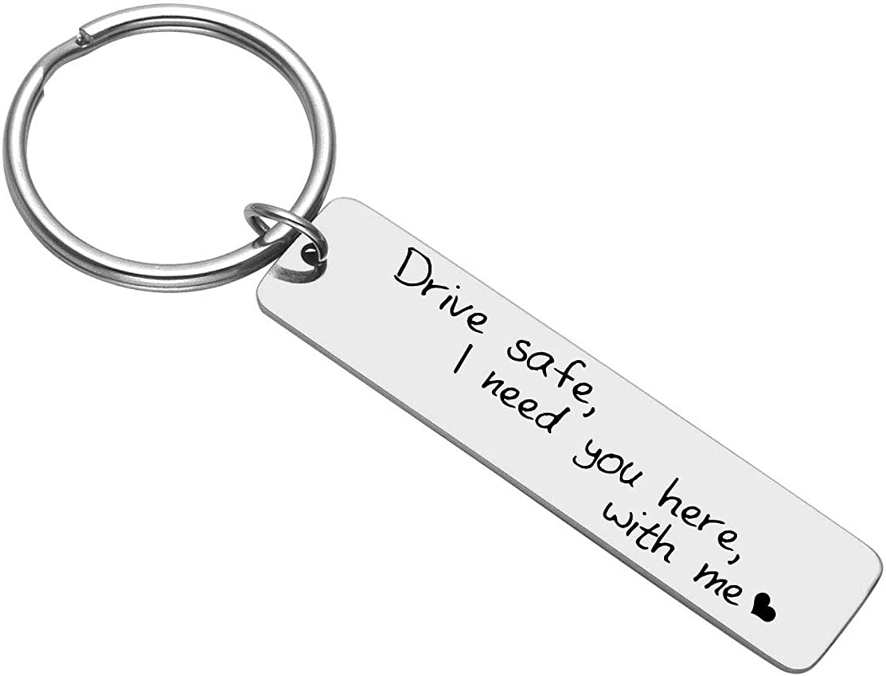 Jovivi Edelstahl Schl/üsselanh/änger mit Gravur Drive Safe I Need You here with me Partner Familie Schl/üsselring Keychain