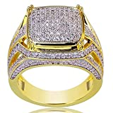 Mens Ring WoCoo Gold Cluster ICED Out Lab Simulated Diamond Band Micropave (Gold,Size 12)